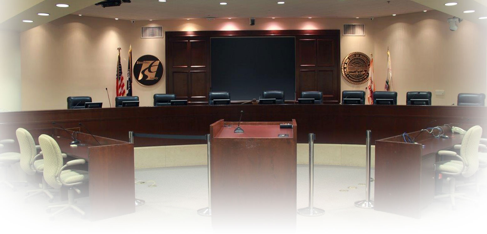 A picture of the empty Council/Board Chambers